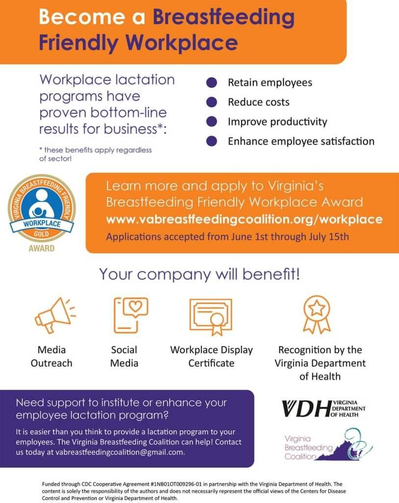 Virginia Breastfeeding Friendly Workplace Application Info